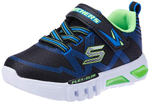 Skechers Boys' Flex-Glow Trainers, Black (Black Blue Lime Bblm), 9.5 UK 27 EU