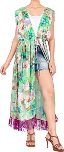 LA LEELA Mujeres Seda Praia de Encaje Largo Kimono Cardigan Ganchillo de La Vendimia Borlas Mini Vestido Exóticas Protector Solar Ropa de Playa