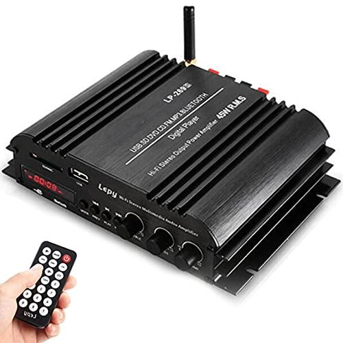 Mini Amplificador Bluetooth Inalámbrico Casa Hi-Fi Amplificadores Digitales Clase D 4 Canales de Música Reproductor USB SD Receptor de Radio FM Control Remoto para Música de Cine en Casa