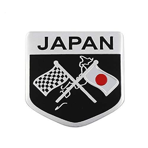 Emblema Adesivo em metal aluminio Brasão Bandeira Quadriculada Japão Japan adesivo carro moto acessórios para carros e motos