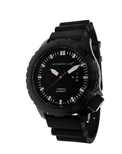 Momentum Herren-Wassersport-Armbanduhr | Torpedo Black-Ion Saphir | Edelstahl-Uhren für Herren | mit japanischem Analog-Uhrwerk | wasserdicht (200 m) Tauch-Armbanduhr, schwarz, 1M-DV76BS1B