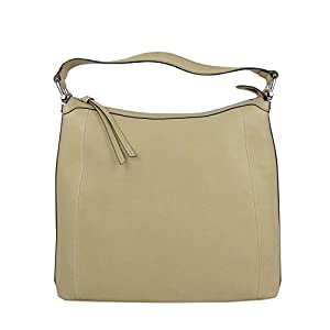 Fashion Shopping Gucci Women's Bamboo Beige Soft Leather Zip Top Handbag with Detail 355774 9909