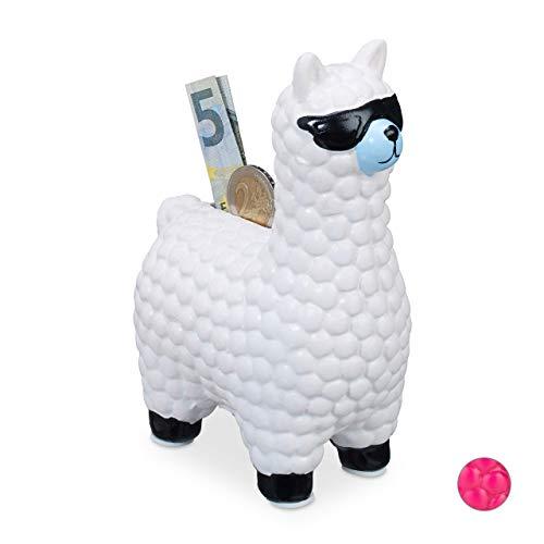 Relaxdays Lama Spardose, mit Sonnenbrille, Geschenkidee & Deko, Alpaka Sparbüchse aus Keramik, HBT 15,5 x 11 x 6cm, weiß