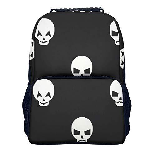 Zhiyue, zaino alla moda da donna Skulls Hipster, zaino per la scuola, ragazzi, ragazze, zaino per bambini e laptop Bianco bianco Taglia unica