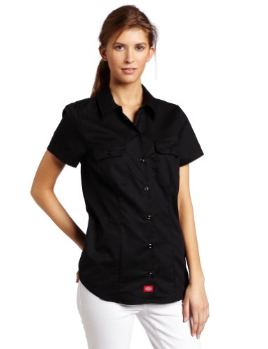 Dickies Women's Short-Sleeve Work Shirt, Black, Large