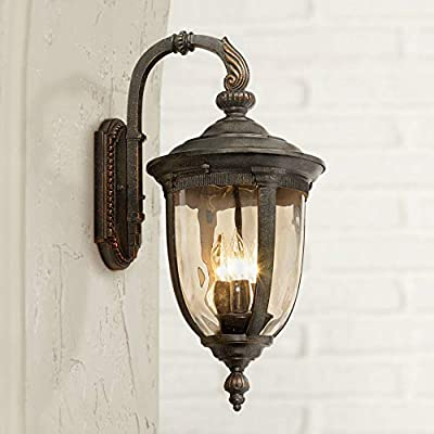 """Bellagio Vintage Outdoor Wall Light Fixture Bronze Metal 20 1/2"""" Champagne Hammered Glass for Exterior House Porch Patio - John Timberland"""