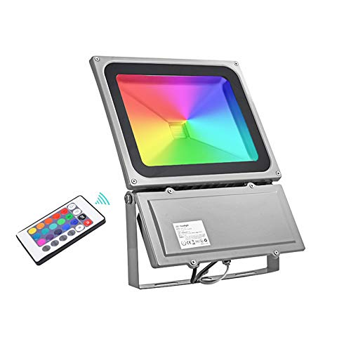 LE Foco LED RGB de 100W, Colores de änderndes Foco Luz al aire ...