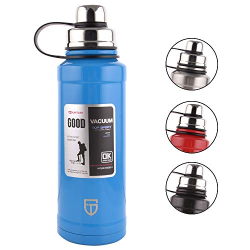 GTI Edelstahl-Vakuum-isolierte Wasserflasche, 28 Unzen Sport Thermoskanne mit Ausgießdeckel, integrierter Filter Thermobecher, hält warm oder kalt mit doppelwandigem, schweißfestem Design, blau