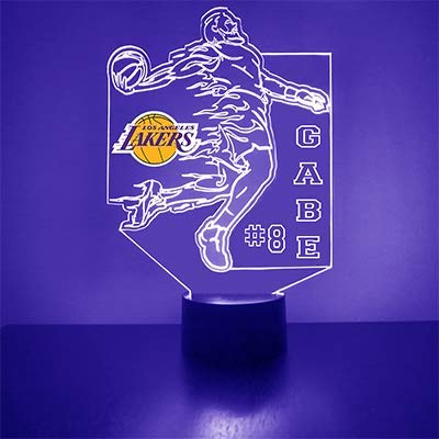 Lakers (Los Angeles) Basketball Sports Fan Lamp/Night Light - LED - Personalize for Free - Featuring Licensed Decal
