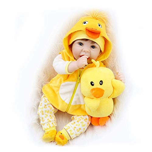 HAIMEN Lebensechte Reborn Puppen, 22 Zoll, weiche Silikon-Puppen, realistisch, mit gelben Kleidern und Enten, Spielzeug Baby Doll Kids Beste Geschenk