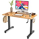 FAMISKY Crank Adjustable Height Standing Desk, 40 x 24 Inches Manual Stand Up Desk, Sit Stand Workstation for Home Office with Handle and Splice Board, Black Frame/Rubberwood Top
