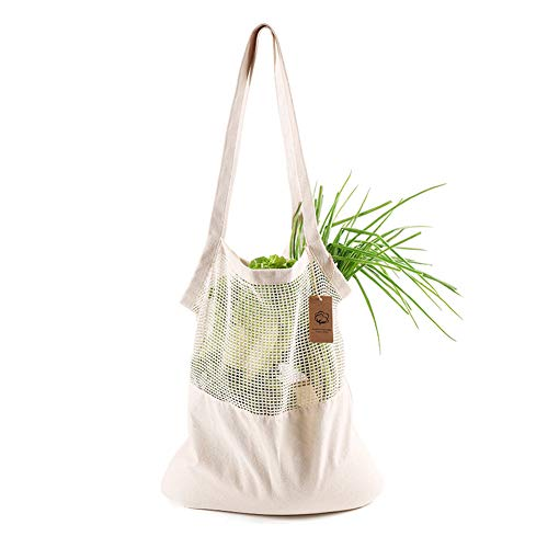 2 Pack Reusable Mesh Cotton Bags,String Shopping Bags Produce Net Bags with Handle,Shopping Tote Handbag for Fruit Vegetable-Breathable&Washable