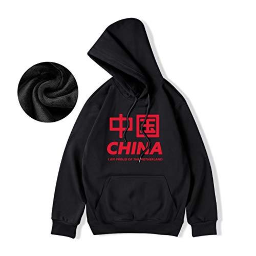 Sweat-Shirt Chinois Hommes Homme Style Augmenter Plus Velvet Pull Wear Couple en Vrac (Color : Black, Size : M/165)
