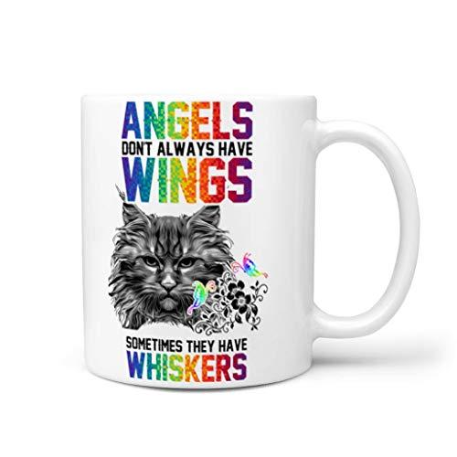 WOSITON Taza de café con diseño de alas de ángel de gato, taza de acuarela, vajilla de cumpleaños, con capacidad de 325 ml, color blanco