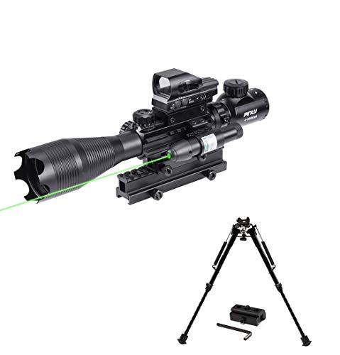 Pinty Rifle Scope 4-16X50 Illuminated Reflex Holographic Dot Sight & Rifle Bipod Compatible with Picatinny Rail System Adjustable 9-13 Inch Height