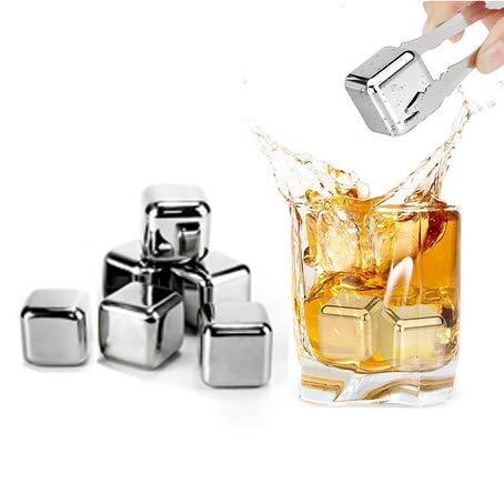 Sprießen 6 Wiederverwendbare Eiswürfel aus Edelstahl, Whiskysteine, Geschenksets für Männer und Frauen mit Eissteinzange zum schnellen Abkühlen von Whisky, Wein, Gin, Wodka, Tonic und Cocktails