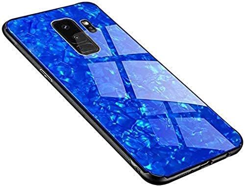 YES2GOOD Samsung Galaxy A6 Plus Marble Case Cover Luxurious Marble Pattern Bling Shell Glass Case Cover with Electroplated Soft TPU Bumper Case for Samsung Galaxy A6 Plus Blue