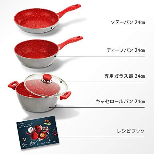 FlavorStone(フレーバーストーン)鍋フライパン4点セットブロンズゴールド直径24cmIH対応【国内正規品】