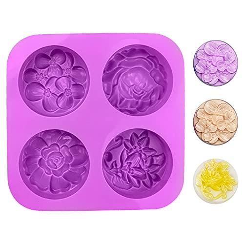 Jodsen Blume Silikon Seifenformen, Antihaft-Silikonform in Lebensmittelqualität für Schokoladenkuchen-Fondant-Cupcake-Keksbrot, Dekorationsform für Seife DIY Crafts Dekorativ (Purple01)