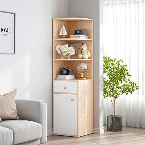 Librería de madera con Puertas 3-Nivel, Gabinete de estantería Vendimia Organizador de almacenamiento versátil para la oficina en el hogar, Jardines Bookcase Crossmill con puertas, Acabados múltiples