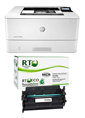 Renewable Toner Laserjet Pro M404n MICR Check Printing Bundle with 1 CF258A 58A MICR Starter Toner Cartridge (Pack of 2)