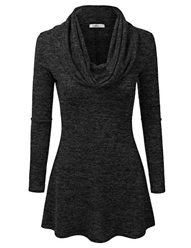 Doublju Marled Cowl Neck A-Line Tunic Sweater Dress Top for Women with Plus Size Charcoal Medium
