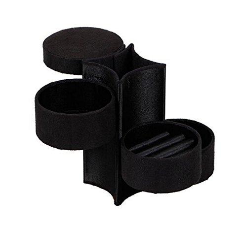 Lifecart Portable roll Up Jewelry Box in velluto a 3livelli con chiusura a scatto per anello orecchino