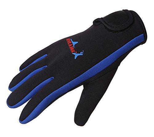 DIVE&SAIL Damen Herren 1.5mm Warme Tauchhandschuh Schnorcheln Surfen Kajakfahren Schutzhandschuh (L, blau)