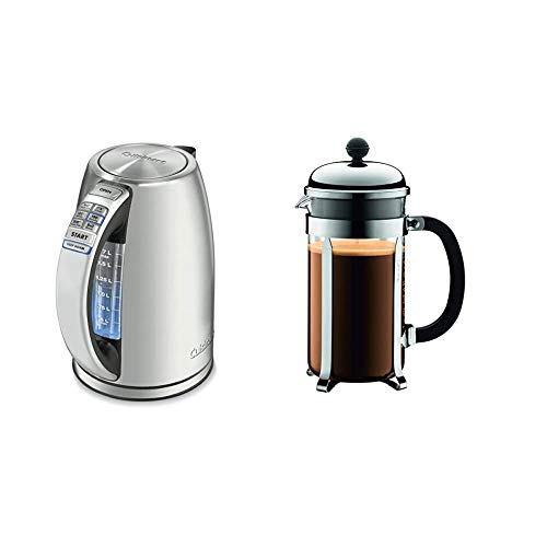 Cuisinart CPK-17 PerfecTemp 1.7-Liter Stainless Steel Cordless Electric kettle, 1.7 L, Silver & Bodum Chambord French Press Coffee Maker, 1 Liter, 34 Ounce, Chrome