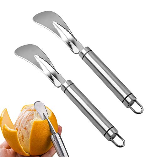 Orange Peeler Cutter, 2 Pieces Stainless Steel Orange Citrus Peelers, Orange Peeler Tool with Curved Handle Vegetable Fruit Tools Kitchen Gadget
