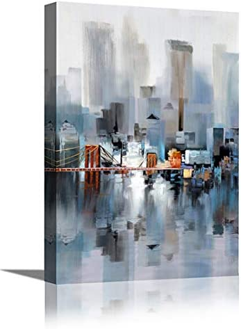 Canvas Wall Art Abstract Modern City Street View Cityscape Building Artwork Walking Wall Art product image
