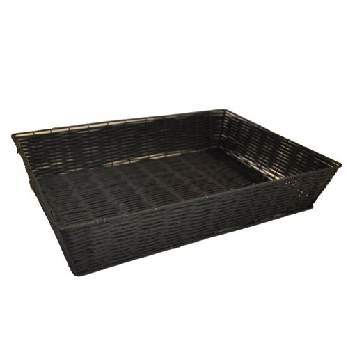 "The Lucky Clover Trading Display Tray, Synthetic Wicker, 19"" L x 3.75"" H x 13.5"" W Basket, Black"