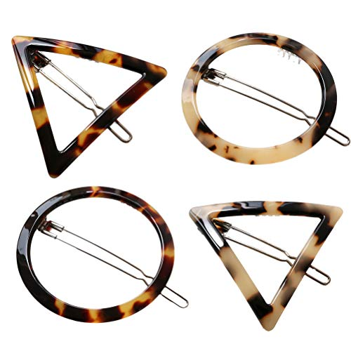Lurrose 4 Pcs Acrylic Resin Hair Clips, Geometric Hair Pins Triangular Circle Leopard Barrettes for Party Daily