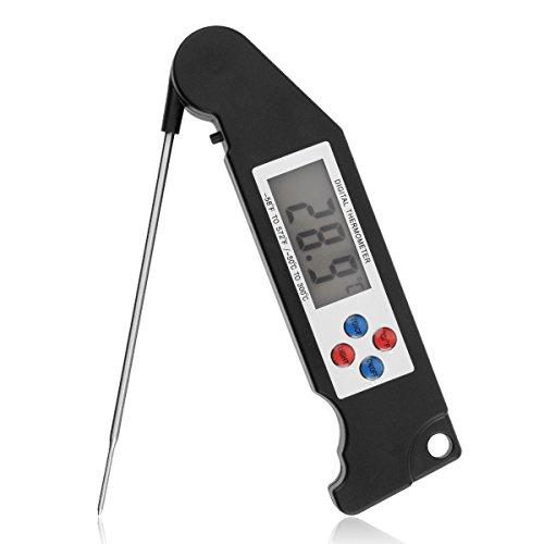 Thermomètre de Cuisine, Thermometre Electronique avec Digital Sonde Écran LCD pour la Cuisine Barbecue Viande Lait Vin et Eau de Baignade - Noir (Noir)