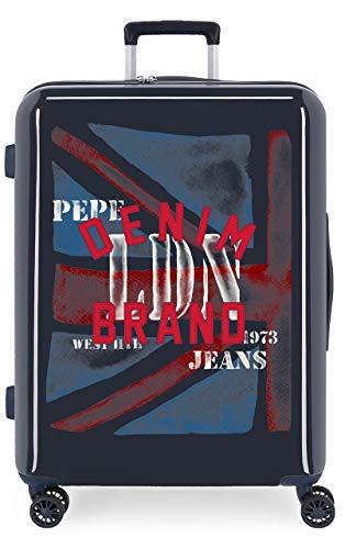 Pepe Jeans Chad Maleta Mediana Azul 48x70x26 cms Rígida ABS Cierre TSA 81L 4,2Kgs 4 Ruedas Dobles Extensible