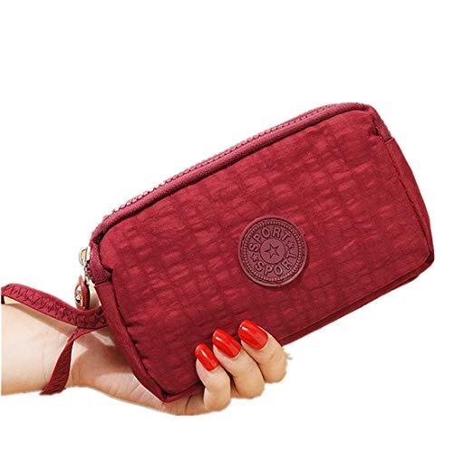 Mode Vrouwen Effen 3 Laag Canvas Coin Purse Card Rits Portemonnee Houder Telefoon Tas Gift Handtassen