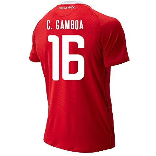 New Balance C. GAMBOA #16 Costa Rica Home Soccer Camiseta Masculina Copa Mundial de la FIFA Rusia 2018, M, Rojo