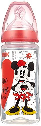 NUK 10216123 Disney  First Choice, Biberon in polipropilene, 300 ml, con tettarella anticolica in silicone, Misura 2 M, dai 6-18 Mesi, modelli/ colori assortiti
