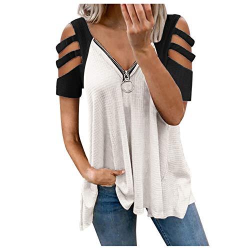 Longshirt Damen Oberteile Schulterfrei Tshirt Kurzarm/Langarm Shirt Bluse Tunika Damen Perfect Vneck T-Shirt Damen Ladies Extended Shoulder Tee T-Shirt