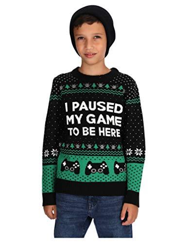 Divertido Regalo Navidad Gamers Geeks Video Juegod - I Paused My Game to Be Here Suéter para Niños Large Multicolor