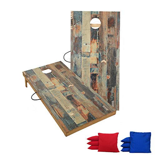 TIANNBU Solid Wood Premium Cornhole Set with Portable Waterproof Unique Pattern Surface Corn Hole Game Boards and Set of 8 Bean Bags for Indoor Outdoor Lawn Backyard Fun
