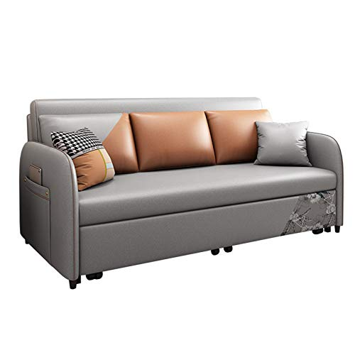 SND-A Pull-Out Sleeper Sofa Bed, Printed Patterns Couch,Multifunctional Foldable Living Room Fabric Sofa Bed with Practical Storage Box Function,Strong Load-Bearing,2.0M