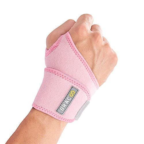 BRACOO WS10 Handgelenkbandage - Handgelenkstütze für Sport und Alltag - Wrist Wrap für Damen und Herren - rosa