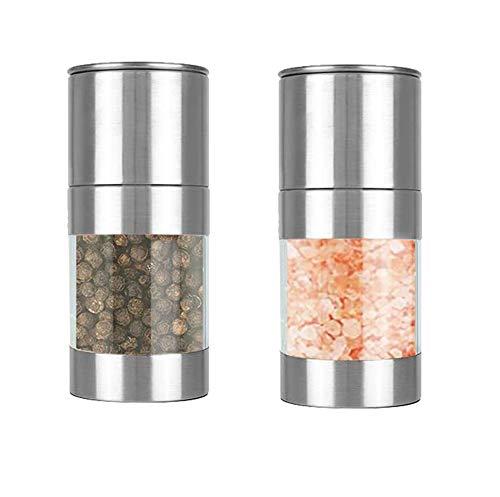 Fitsund Gewürzmühle 2er Set mit Verstellbarem Acrylglas Keramikmahlwerk verstellbar Edelstahl Salzmühle und Pfeffermühle Mini Gewürzmühle