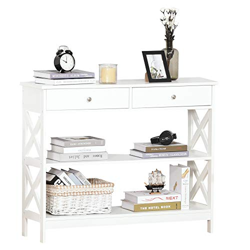 HOMCOM Console Table Side Desk w/Shelves Drawers Open Top X Support Frame Living Room Hallway Home Office Furniture White