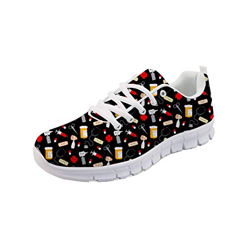 NDISTIN Black Fashion Sneakers Nurse Shoes Women Funky Road Running Shoes Lightweight Breathable Walking Jogging Shoes Cross Training Sports Flats Size US 8