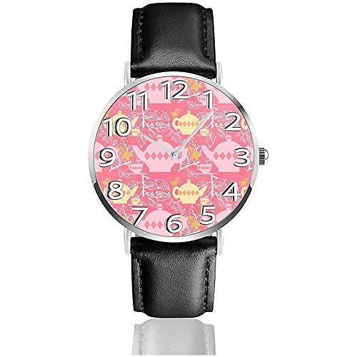 Armbanduhr Teekanne Muster Pink Classic Casual Quarz Schwarz Leder Armbanduhr