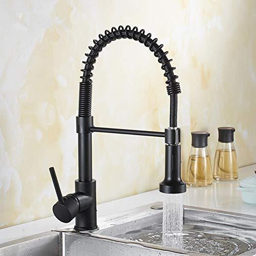Pull Out grifo de la cocina caño oscilante Caños extensible primavera mezclador tiran hacia abajo el grifo de la cocina grifo del fregadero de cocina de lujo en oro, estilo 3 negro