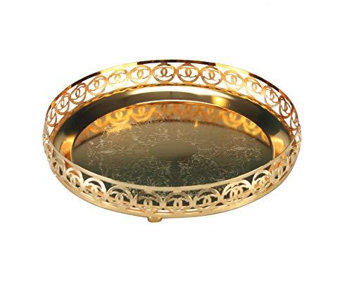 TRI-STAR ENT Vassoio rotondo decorativo a specchio lucido Paandan vassoio placcato inciso centrotavola candele, piatto da tè, frutta, snack, cupcake, bevande, 23 cm, Argento, Style 3 - Gold