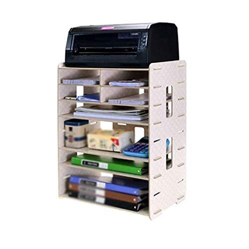 Briefkörbe Kreative Multifunktionale Holz Desktop Storage A4A3 Datei Halter Druckerhalterung Schreibtisch File Organizer für Home Office Verwenden (Color : C, Size : 56x26x42cm)